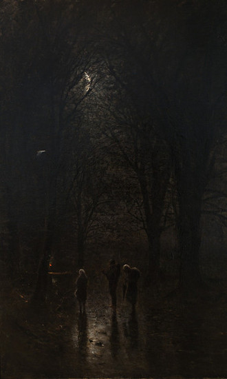 Ladislav Mednyánszky: Road through the Woods (Night Travellers at a Cross) (1880/1882)