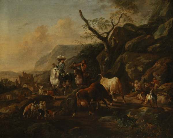Johann Heinrich Roos: Landscape with Hunters (1678/1678)