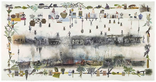 Marzia Migliora: C'est a ce prix que nous mangeons du sucre, from the series Paradoxes of Plenty, #43, 2021, collage and drawings, 114,5 x 218,5 cm, courtesy of the artist.